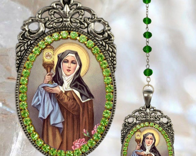 Clare of Assisi – Rosary - Patroness of Eye Disease; Goldsmiths; Embroiderers & Needleworkers Catholic Christian Jewelry Medal Pendant