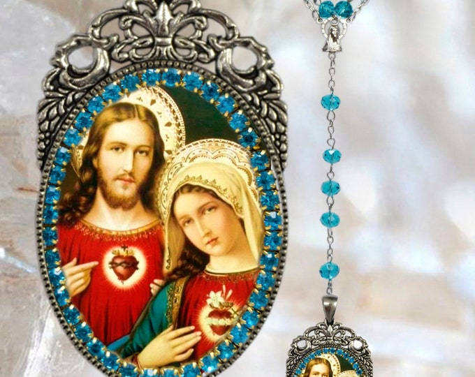 Immaculate Heart of Mary and Sacred Heart of Jesus - Rosary - Handmade Catholic Christian Religious Jewelry Medal Pendant