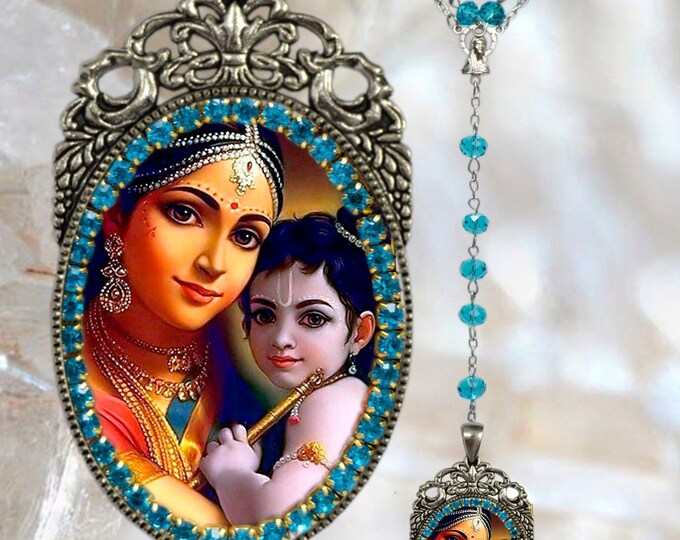 Krishna Leela & Mother Yasoda Rosary God of Compassion, Tenderness and Love Necklace Hindu Jewelry Govinda, Mukunda, Madhusudhana, Vasudeva