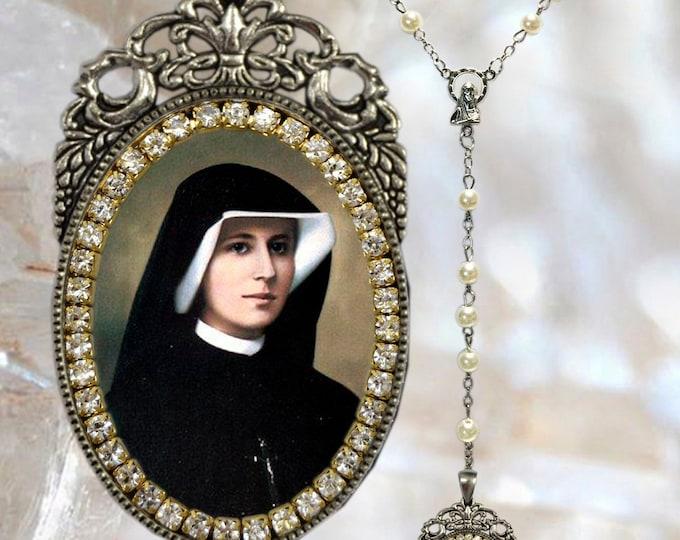 Faustina Kowalska – Rosary - Patroness of Mercy - Handmade - Faustyna Christian Religious Jewelry Medal Pendant