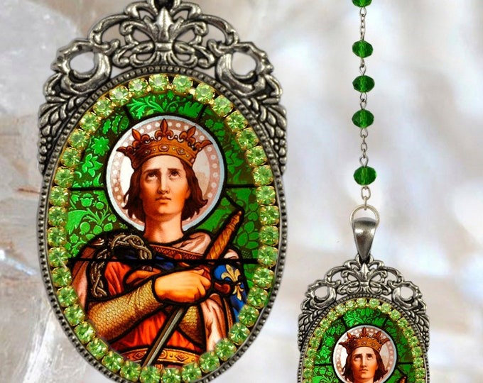 Louis IX King of France - Saint Louis - Rosary Handmade - Catholic Christian Religious Jewelry Medal Pendant