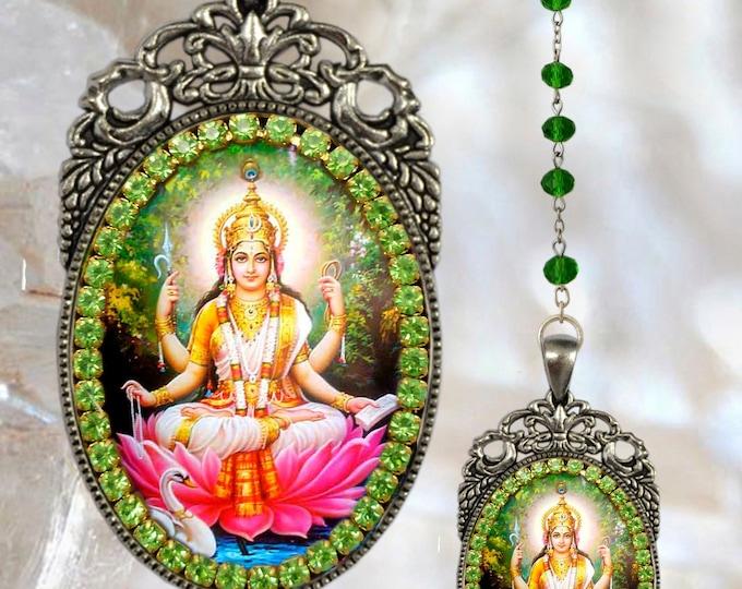 Saraswati Vandana Rosary Goddess Handmade Hindu Jewelry Medal Pendant Sarasvati