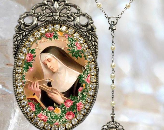 Rosary of Saint Rita of Cascia or St. Rita de Cassia Handmade Catholic Christian Religious Jewelry Medal Pendant