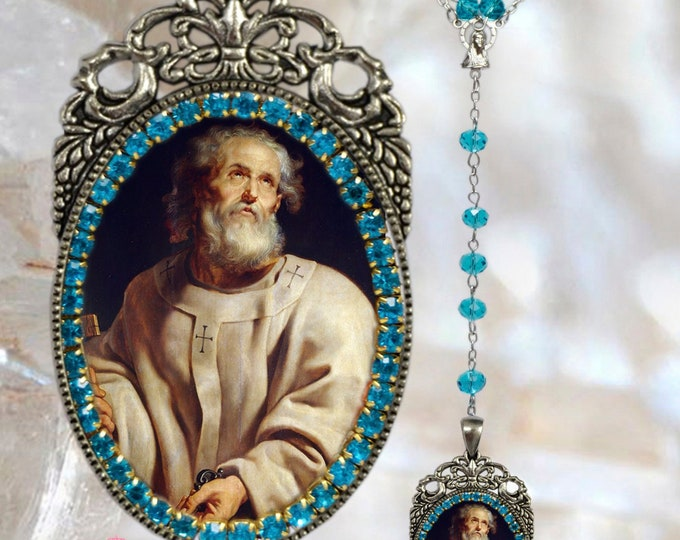 Peter The Apostle  Rosary - Patron Saint Against Frenzy; Fever; Foot Problems & Longevity - Handmade Rosary Catholic Jewelry