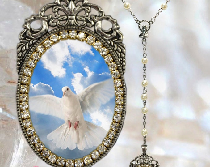Holy Spirit Rosary - Handmade Catholic Christian Religious Jewelry Medal Pendant