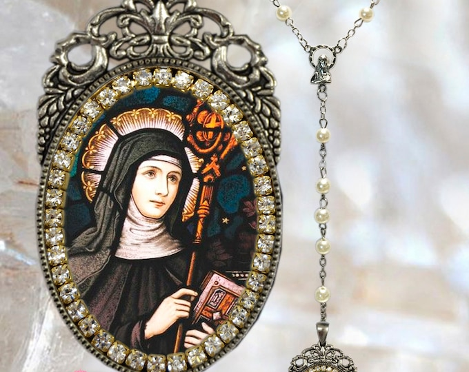 Saint Gertrude of Nivelles The Great  Gertrude the Great / Saint Gertrude of Helfta ~Rosary - Patroness of West Indies Handmade Catholic