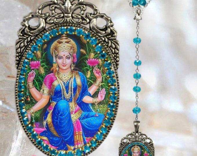 Lakshmi Hindu Goddess Rosary Handmade Hindu Jewelry Medal Pendant