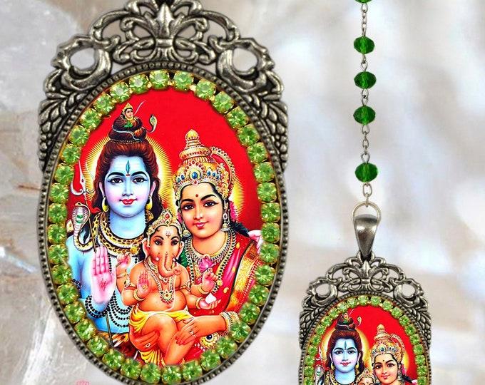 Rosary of Lord Shiva, Goddess Parvati, Lord Ganesh or Ganesha Handmade Hindu Jewelry Medal Pendant Handmade Hindu Jewelry Medal Pendant