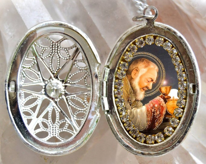 St. Padre Pio Locket Handmade Necklace