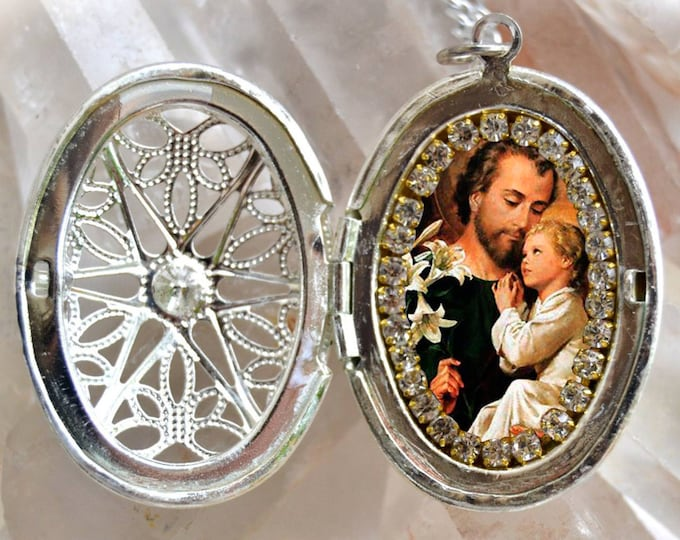St. Joseph Handmade Locket Necklace Catholic Christian Religious Jewelry Medal Pendant São José