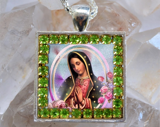 Our Lady of Guadalupe Handmade Scapular Necklace Catholic Christian Religious Jewelry Medal Pendant
