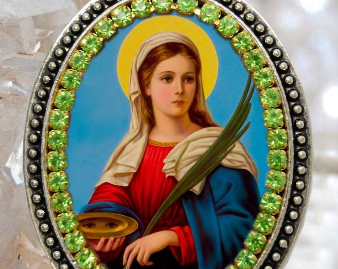 Saint Lucy Patron Saint of Blindness Handmade Necklace Catholic Christian Religious Jewelry Medal Pendant