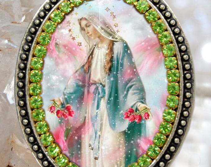 Our Lady Mary Mediatrix of All-Grace Handmade Necklace Miraculous Medal Catholic Christian Religious Jewelry Medal Pendant