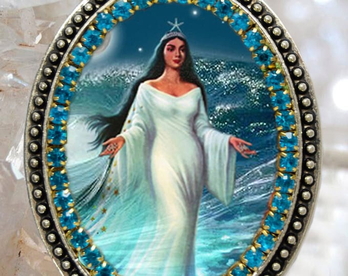 Yemanjá  Queen of The Sea Handmade Necklace Orixá Jewelry Medal Pendant
