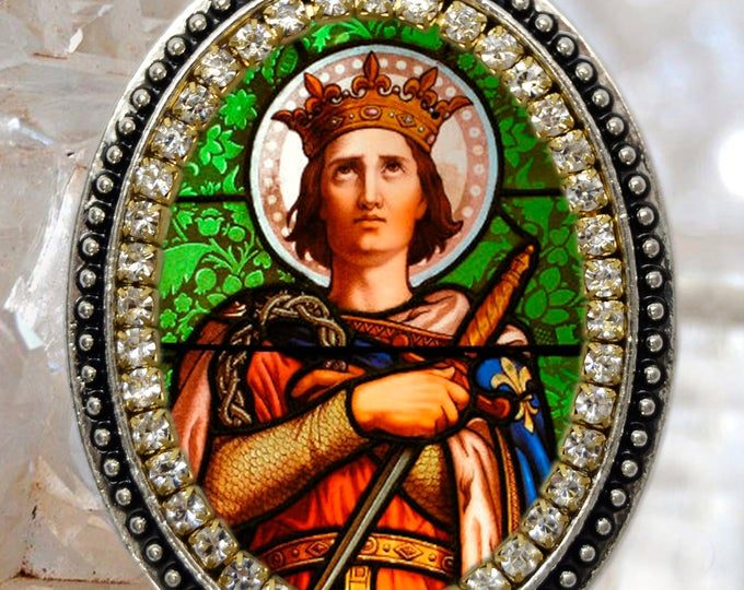 Saint Louis King of France Handmade Necklace Catholic Christian Religious Jewelry Medal Pendant