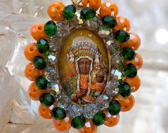 Embroidered Medallion - Black Madonna of Czestochowa - Patroness of Poland -  Handmade Catholic  Jewelry Pendant