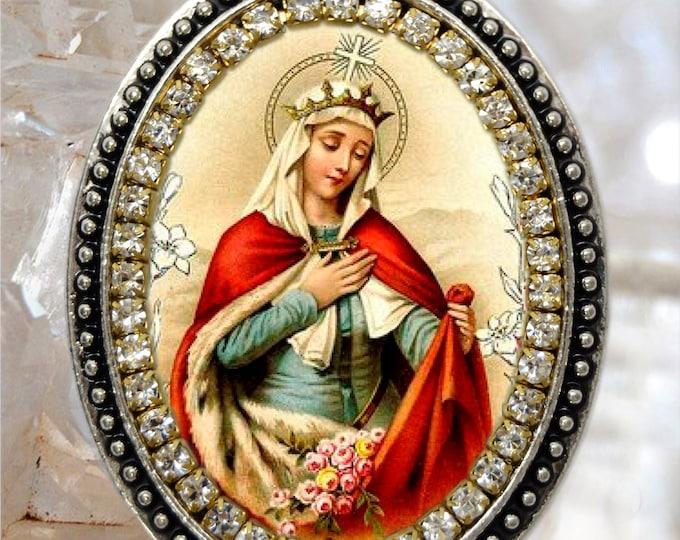 Saint Elizabeth of Hungary Necklace Catholic Christian Religious Jewelry Medal Pendant Saint Elizabeth of Thuringia