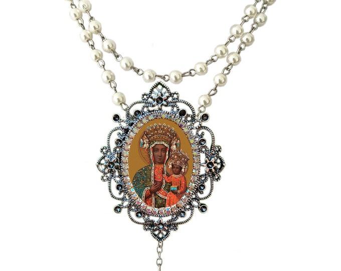 Black Madonna of Czestochowa - Rosary Center - Patroness of Poland -  Handmade Catholic Christian Jewelry Pendant