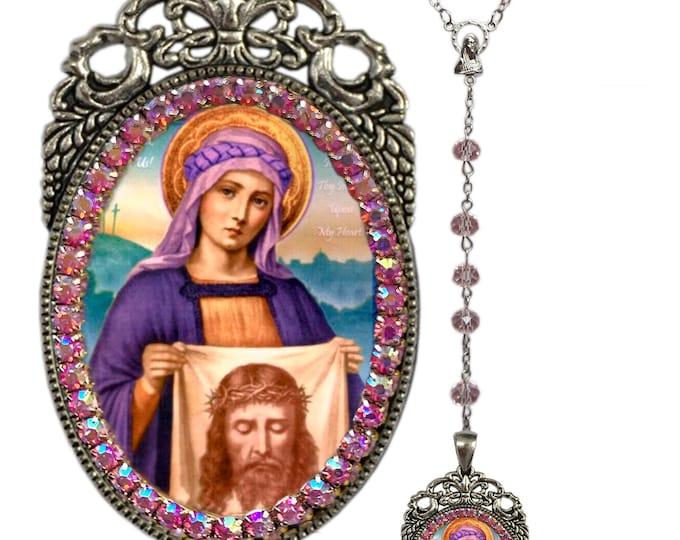 Saint Veronica Rosary - Patron Saint of Laundry Workers & Photographers - Charm Handmade Necklace Catholic Christian Religious Jewelry