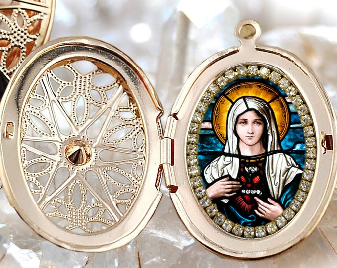 Immaculate Heart of Mary Handmade Locket Catholic Christian Religious Jewelry Medal Pendant