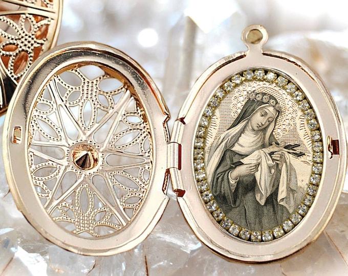 Saint Rose of Lima Vintage Style Locket, Handmade Necklace Catholic Christian Religious Jewelry Medal Pendant Santa Rosa de Lima