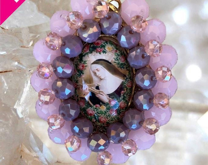 Embroidered Medallion - Saint Rita of Cascia - Patroness of Impossible Causes -  Handmade Catholic  Jewelry Pendant