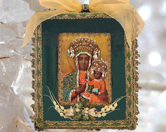 UNIQUE SHRINE Black Madonna of Czestochowa - Patroness of Poland - EXCLUSIVE Altar, Catholic Christian Religious Art