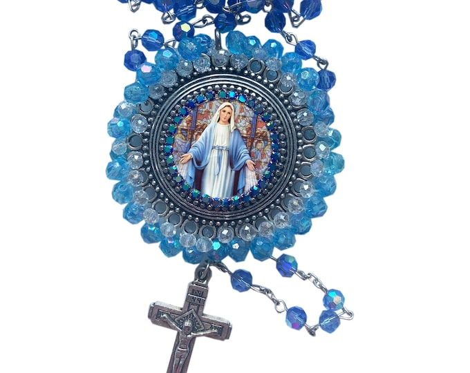 Rosary Embroidered Our Lady Mary Mediatrix of All-Grace Medallion -  Handmade Miraculous Medal
