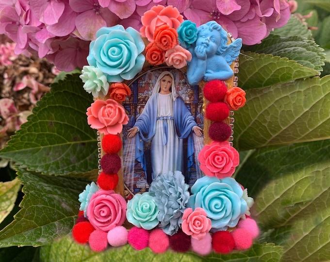 UNIQUE SHRINE Our Lady Mediatrix, EXCLUSIVE  Art; Nicho; Travel Altar