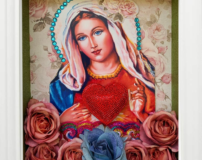 UNIQUE SHRINE Immaculate Heart of Mary, EXCLUSIVE Catholic Christian Religious Art; Nicho; Travel Altar