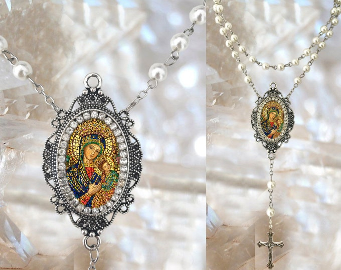 Pearls Rosary Our Lady of Perpetual Help Handmade Catholic Christian Religious Jewelry Pendant Our Lady of Perpetual Succor Theotokos