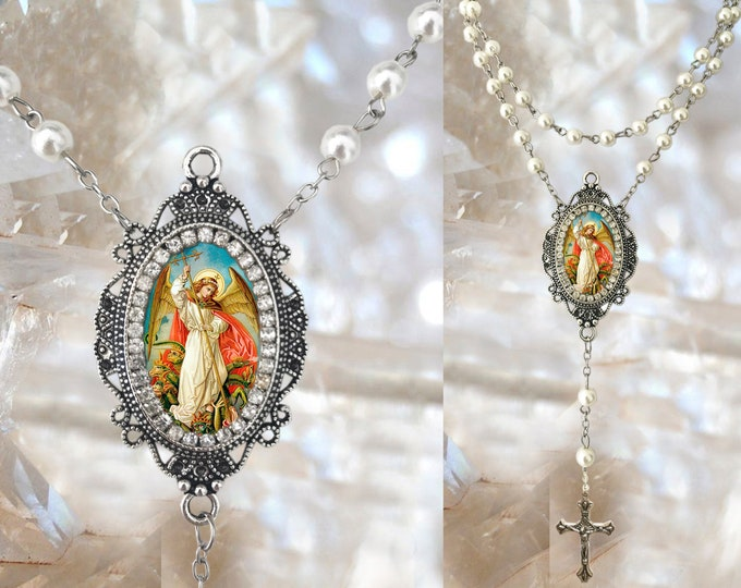 Pearls Rosary St. Michael Archangel Handmade Catholic Christian Religious Rosaries Jewelry Medal Pendant Arcanjo Miguel