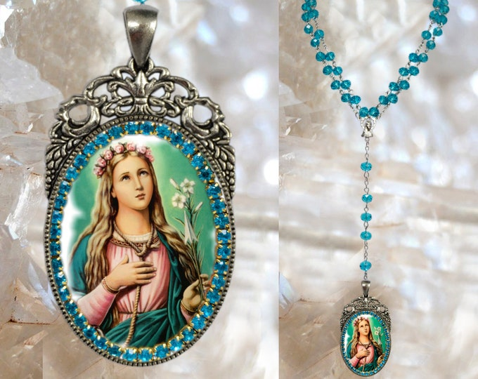 Rosary St. Philomena: Patron Saint of Babies, Infants, and Youth Handmade Necklace Catholic Christian Religious Jewelry Medal Pendant