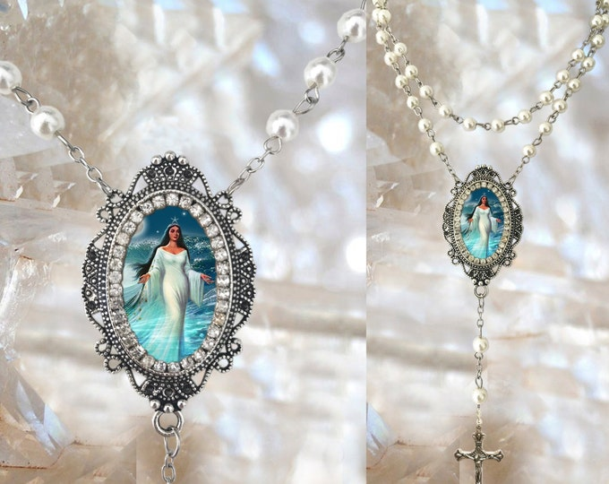 Rosary of Yemanjá or Iemanjá Queen of The Sea Handmade Necklace Orixá or Orisha Jewelry Medal Pendant