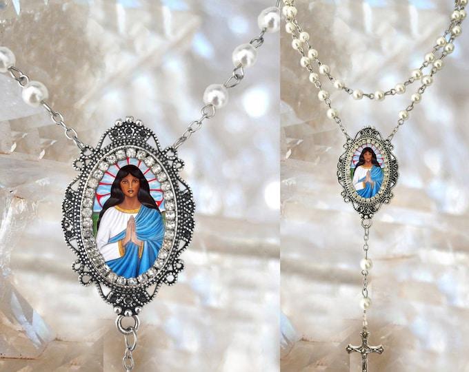 Rosary of  Sarah Kali or Sara Kali Handmade Necklace Gypsies Patron Saint Catholic Christian Religious Jewelry Medal Pendant