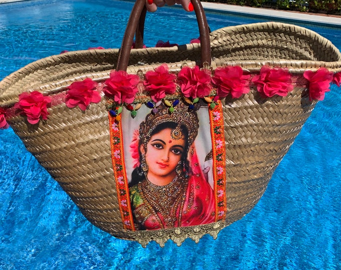 UNIQUE Parvati Big Straw Bag Handmade - Wild Palm Eco Friendly - Handle Leather - Exclusive Hindu Devotion - Goddess of Love