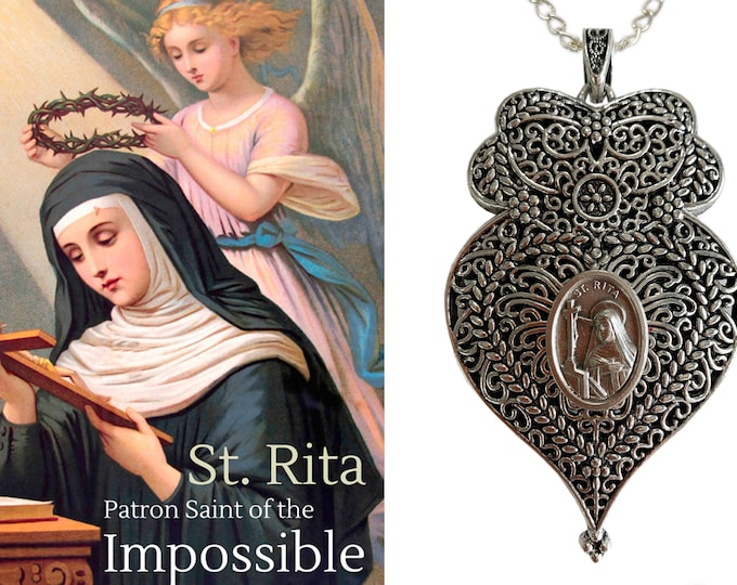 Heart of  Rita of Cascia Victorian Necklace -Patroness of Impossible Causes