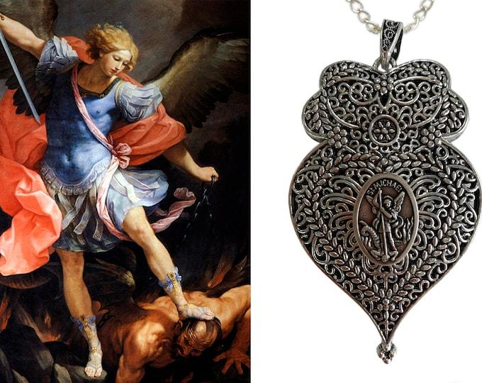 Heart of St. Michael Archangel Handmade Necklace Pendant