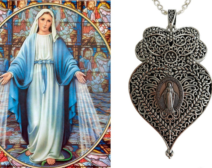 Heart of Our Lady Mediatrix of All-Grace Victorian Necklace