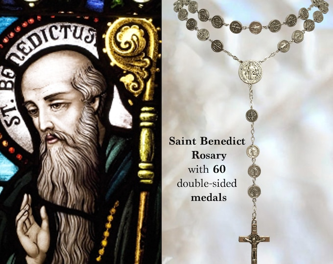 Rosary St. Benedict - 60 medals (double sided) Handmade Catholic Christian Religious Jewelry Catholic Rosary Gifts, Christmas Gifts