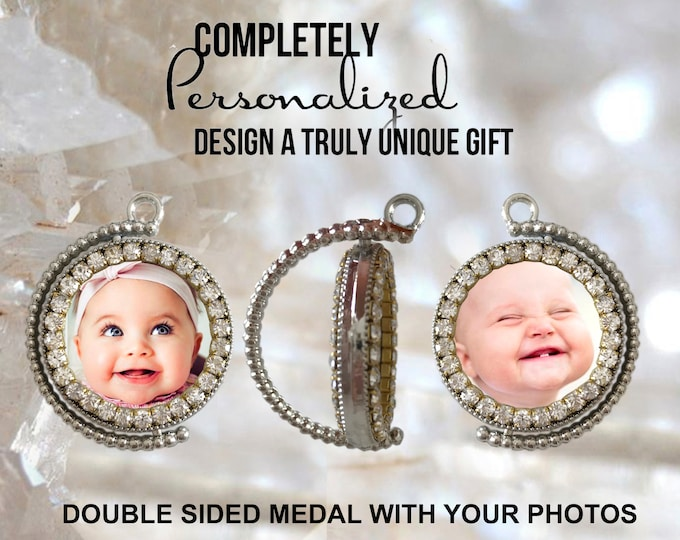 Your Own Photos - Custom Double Side Medal  Picture Necklace - Personalized Necklace - Photo Jewelry - Photo Necklace - Photo Pendant