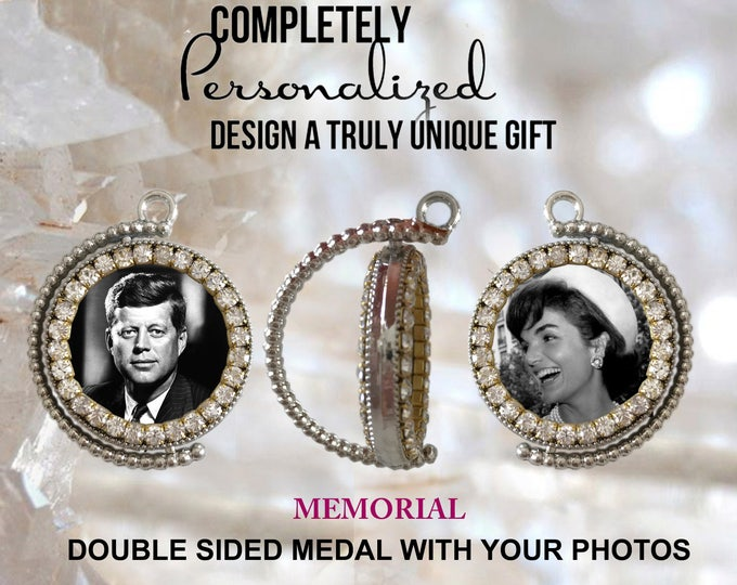 MEMORIAL medal with your photos - Custom Double Side Medal  Picture Necklace - Personalized Necklace - Photo Jewelry - Pendant Necklace