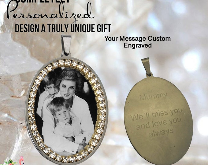 ENGRAVED Custom Medal with YOUR PHOTO -  your Personalized Message in the back Handmade Pendant Necklace Stainless steel
