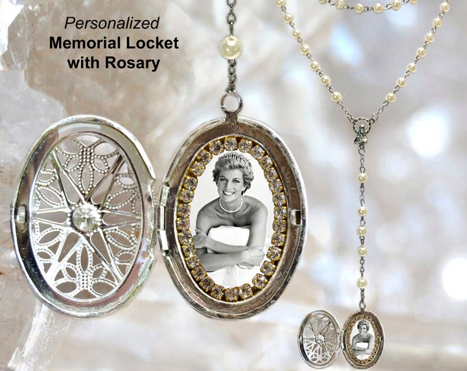 MEMORIAL ROSARY LOCKET Custom with Your Photo Handmade medal Jewelry Pendant