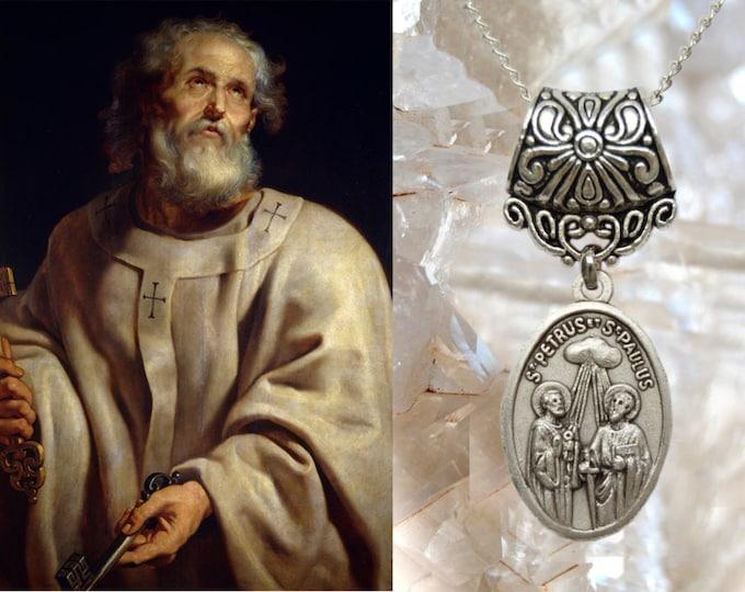 Saint Peter and Saint Paul, Charm Necklace Catholic Christian Religious Jewelry Medal Pendant, São Pedro e São Paulo