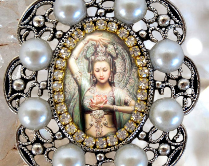 Kuan Yin Goddess of Mercy and Compassion Handmade Necklace Jewelry Medal Pendant