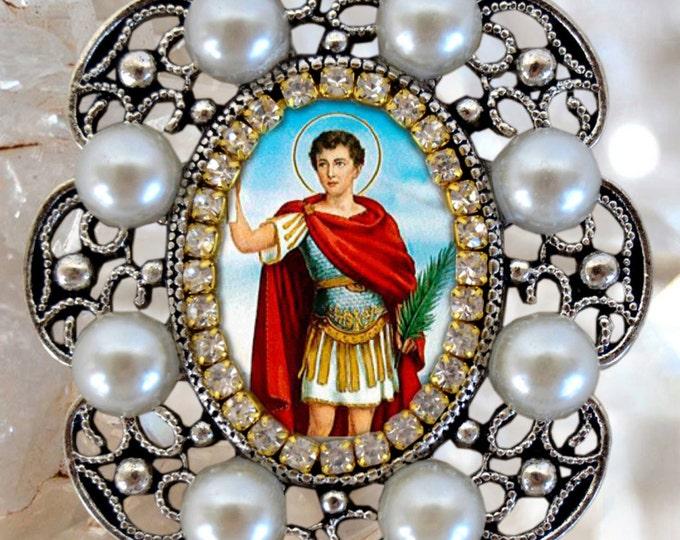 Saint Expeditus, Charm Necklace Catholic Christian Religious Jewelry Medal Pendant, Santo Expedito