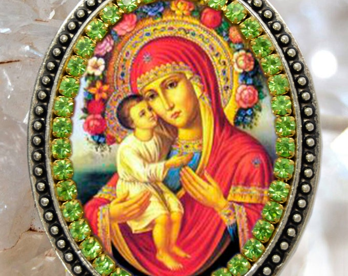Our Lady of Pompeii  Handmade Necklace Catholic Christian Religious Jewelry Medal Pendant