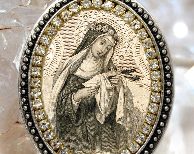 Saint Rose of Lima Locket Vintage Style Handmade Necklace Catholic Christian Religious Jewelry Medal Pendant Santa Rosa de Lima