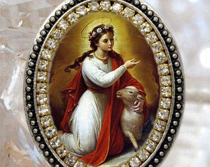 Saint Agnes Handmade Necklace Catholic Christian Religious Jewelry Medal Pendant